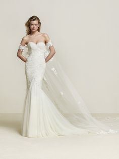 DRIMEA Pronovias Luv Bridal Australia strapless off shoulder fitted lace wedding dress