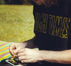When stuck in a bind, roll on your cell #reefermadness logo tee on shop.hightimes.com #highstyle 21h