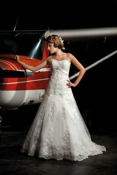 Up. up and away in a gorgeous wedding dress from Annais Bridal