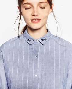 STRIPED SHIRT WITH EMBROIDERED COLLAR from Zara - the details in this top are so cute