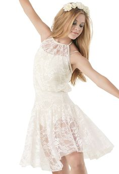 Very beautiful because it is a simple style -A Stretch Lace Halter Dress Dance Moms Costumes, Lyrical Costumes, Dance Outfits, Dance Dresses, Contemporary Dance Costumes, Dance Wear Solutions, Trendy Dresses, Fashion Dresses, Costume Dress