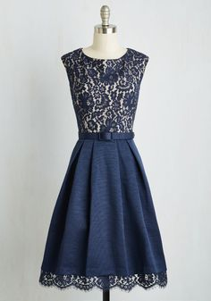 Lovely in Lyons Dress - Blue, Solid, Lace, Belted, Party, A-line, Cap Sleeves, Woven, Best, Scallops, Wedding, Cocktail, Bridesmaid, Long