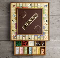 Board Game Table, Wooden Board Games, Wood Games, Table Games, Game Tables, Harry Potter Monopoly, Monopoly Game, Monopoly Board, Custom Monopoly