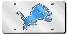 Detroit Lions Laser Cut Silver License Plate