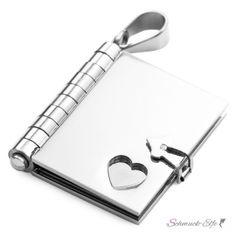 Buch Anhänger mit Herz 316 L Edelstahl Silber inkl. Kette...