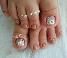Ideas for nails art sencillo flores Pretty Toe Nails, Cute Toe Nails, Toe Nail Art, Love Nails, My Nails, Cute Toes, Toenail Art Designs, Feet Nails, Super Nails