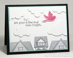Gorgeous stamping by @Christina MacLaren. Love the tops of the houses in black and white and the fabulous red bird!