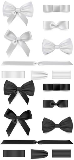 Black with white bow ribbon vector - Vector Other free download