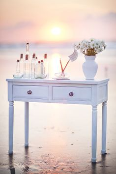 """Beach Themed Wedding - Guest """"Messages in a Bottle"""" Table #beach #seaside #wedding"""