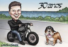 Caricatura encomendada para presente de aniversário de 30 anos. #birthday #illustration #party #quadro #dog