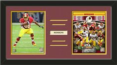 Two framed 8 x 10 inch Washington Redskins photos of Alfred Morris with a customizable nameplate*, double matted in team colors to 24 x 12 inches.  The lines show the bottom mat color.  $79.99 @ ArtandMore.com