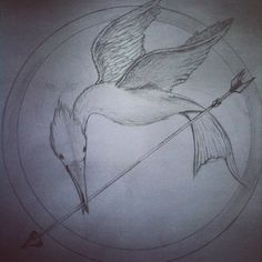My sketch of Katniss' Mockingjay Pin #theHungerGames