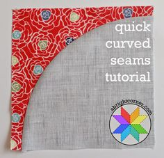 Quick curved seams tutorial from A Bright Corner. Do yourself a favor and get this under your belt. Curved seams are not difficult, but so many make them a stopping block. Clip the allowance carefully is the only advise I can give. Patchwork Quilting, Quilting Tips, Quilting Tutorials, Machine Quilting, Quilting Projects, Quilting Designs, Sewing Tutorials, Sewing Projects, Sewing Tips