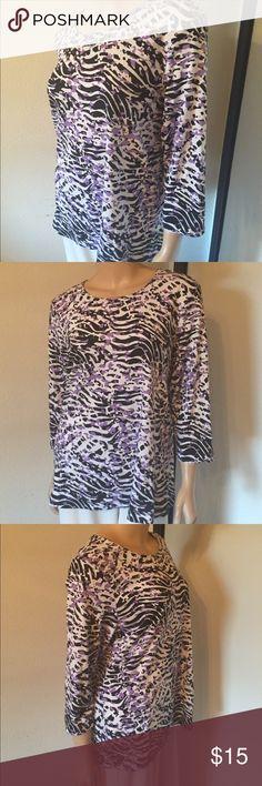 Purple & Black Top Black tiger stripes and purple leopard print make this top fun. Size XL Tops Blouses
