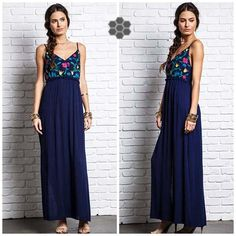 """Navy is our favorite summer color and we are obsessed with this embroidery! Get this dress now! $36, true to size, 36-40"""" bust, adjustable spaghetti straps!"""