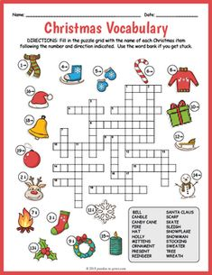 Review vocabulary and spelling for Christmas vocabulary with this super fun and FREE crossword worksheet. Each clue in the puzzle is a colorful image - puzzlers must fill in the grid with the vocabulary word represented by the image. The worksheet comes in two versions: one with a word bank (good fo...