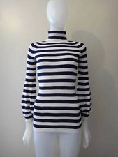 JUNYA WATANABE  COMME Des GARCONS Navy Blue Striped Turtleneck Sweater Size S