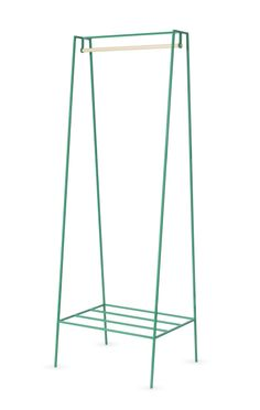 Green steel metal clothes rail / clothes rack / minimalist wardrobe called 'A' www.andnew.co.uk