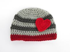 Crochet Striped Boy or Girl Valentines Beanie - Made to Order