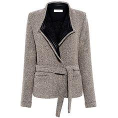 Iro - AWA Jacket (253.705 HUF) ❤ liked on Polyvore featuring outerwear, jackets, woven jacket, layered jacket, iro jacket, tweed jacket and brown jacket