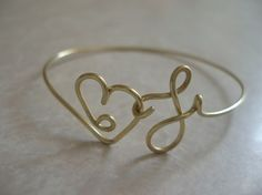 Heart and Initial F Wire Cuff/Bangle Bracelet