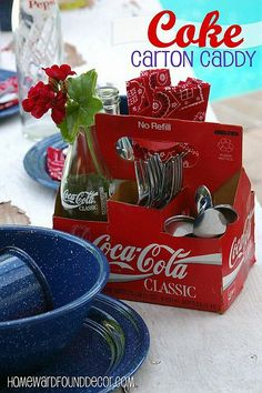 cardboard Coke bottle box can be repurposed as a cute caddy for flatware & napkins! It could also hold candy on a dessert table, or condiments for your burgers & hot dogs on a buffet Coca Cola Party, Coca Cola Decor, Bottle Box, Bottle Carrier, Patriotic Decorations, Table Decorations, Coca Cola Kitchen, Bottle Centerpieces, Soda Bottles