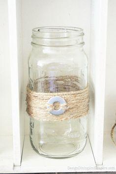 Mason Jars Adorned with Jute and Washers, DIY mason jars, mason jar projects, washers and jute, vintage jars