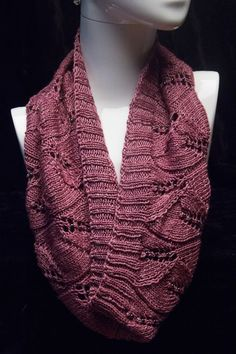 Hand Knit and Beaded Lace Infinity Scarf  by VibrantFiberArt