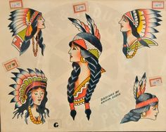 Traditional Tattoo Girls, Traditional Tattoo Flash, African Crafts, Indian Crafts, Vintage Tattoo Design, Vintage Tattoos, Old Tattoos, Girl Tattoos, Antique Tattoo