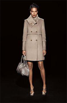love this.    Elie Tahari Leather Trim Wool Coat | Nordstrom