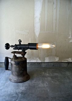 Upcycled Vintage Blow Torch Rustic Table Lamp by ThEeRabbitHole, $210.00