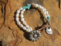 Daisy JaneLeather and Pearl mix with Turquoise by fleurdesignz, $28.00