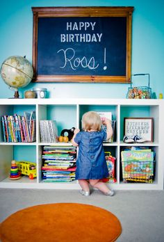 Nursery organization - love the locker baskets and chalkboard!
