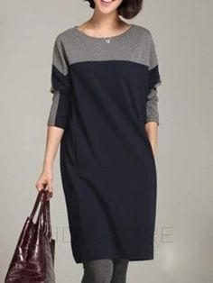 AdoreWe - tidestore Amazing Color Block Round Neck Loose Sweater Dress - AdoreWe.com