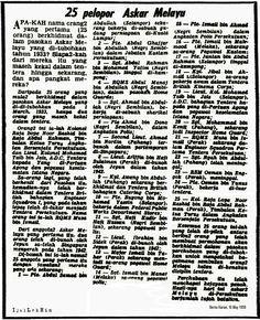 Pasukan Askar Melayu bermula dengan penubuhan Kompeni Percubaan Pertama (1st Experimental Company) pada tahun 1933 dan merupakan titik permulaan pasukan tentera anak watan di Tanah Melayu. Seramai 25 orang anak Melayu daripada beribu calon telah dipilih utk mengetahui sambutan orang melayu bila dikenakan disiplin tentera. Malayan Emergency, Real Life, Words, Horse