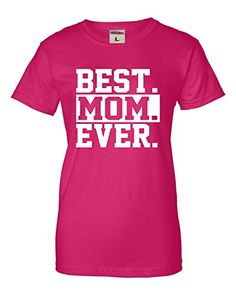 Large Cyber Pink Womens Best Mom Ever #1 Mom World's Best Mom Mother's Day T-Shirt Go All Out Screenprinting