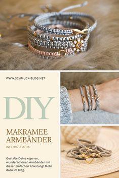 DIY Makramee Armband Anleitung - knüpfe Dein eigenes Flechtarmband mit dieser einfachen Technik. Die komplette Anleitung mit Bildern und Video findest Du im Blog.