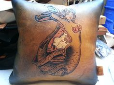 Leather Throw Pillow Tattoo Style Mermaid by LanceCoveCustoms, $230.00