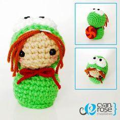 Cute Om Nom Girl - Crochet Mini Doll. $15.00, via Etsy. (sold)