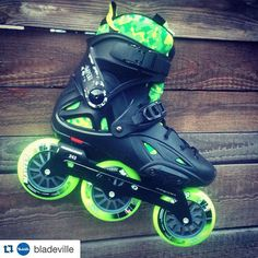 I like!  #Repost @bladeville with @repostapp. ・・・ Powerslide - Imperial one with MyFit FatBoy liner, Pleasure Tool frame, Matter F3 105mm and Wicked - Abec 7 bearings. Contact us for your dream setup! #setup #bladeville #iloverolki #myfit #fatboy #wicked #3x3skates #triskates #triskate #3wheelskates #skateporn #fsk #green