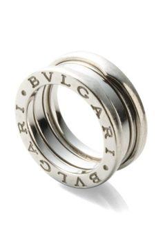 bvlgari 18k white gold stacked ring on hautelook