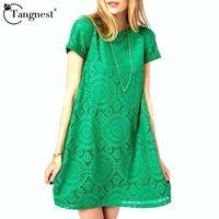 TANGNEST Vestidos Femininos Woman Casual Dress 2016 Summer Short Sleeve O-Neck Plus Size Lace Dresses Vestido De Renda WQS062