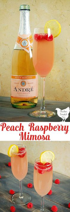 Celebrate with a Raspberry Peach Mimosa full of fresh flavors and bubbles! If a classic mimosa and a peach Bellini made a baby this would be it #peachmoscato #holiday #mothersday #holidaybrunch #cocktail #newyears