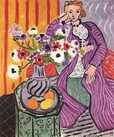 Henri Matisse (French, 1869-1954): Purple Robe and Anemones (Robe violette et Anemones), 1937. The Cone Collection, Baltimore Museum of Art, Baltimore, Maryland, USA.