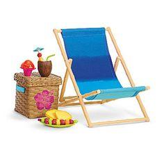 American Girl MYAG BEACH CHAIR SET for Dolls Chair, Basket, Ice NIB Kanani #AmericanGirl #Accessory