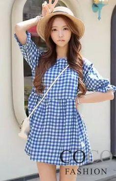 Dziewczęca Jasnoniebieska Romantyczna Sukien46ka w Kratkę