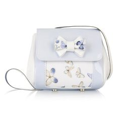 Monnalisa Girls Pale Blue Patent Leather Butterfly Bag