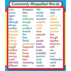 Carson Dellosa Commonly Misspelled Words Stickers Commonly Misspelled Words Study Buddies are the perfect size for binders and notebook cover concept reminders. They can be used for desktop references, homework helpers, study tools and center resources! 5th Grade Spelling Words, Spelling Rules, Spelling Lists, Spelling Activities, 4th Grade Vocabulary Words, Spelling Help, Word Study Activities, Listening Activities, Spanish Vocabulary