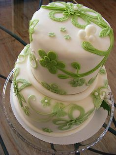 Green lace cake