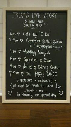 Personalised wedding order of ceremonies: etsy.com/uk/shop/ItStartedWith